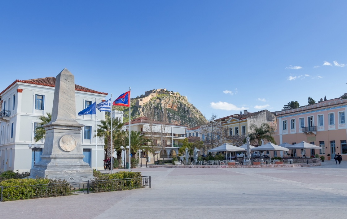 Square of the Philhellenes with Palamidi fortress in background, Nafplio, Greece
