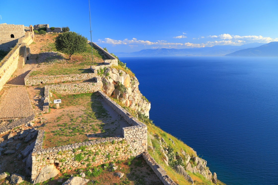Walls of the Palamidi fortress above Mediterranean sea, Nafplio, Greece